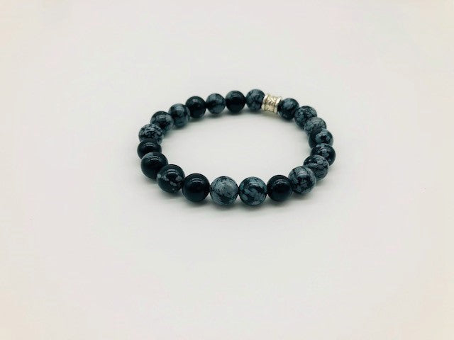 Simply Crystal Snowflake Obsidian Emotionally Grounding Bracelet Large Bead