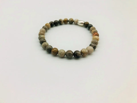 Simply Crystal Silver Leaf Jasper Emotionally Grounding Small Bead Bracelet