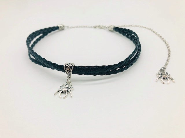 Wicca Spider Faux Leather triple Choker
