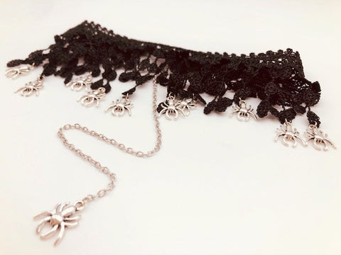Wicca Lace Spiders Web Choker