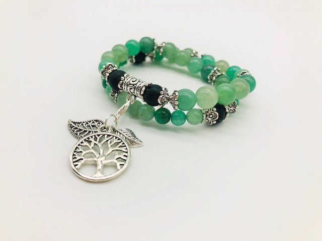Green Aventurine Aroma Healing Wealth, Health & Prosperity Bracelet & Necklace