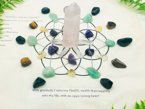 Hand Made Crystal Grid With Full Crystal Collection