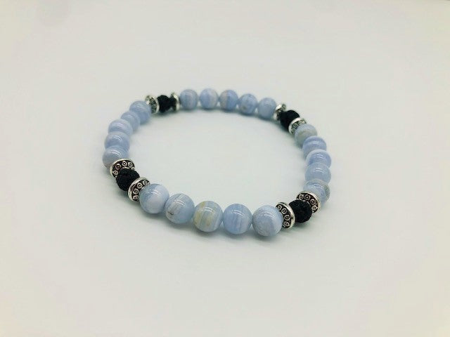 The Throat Chakra Balancing Blue Lace Agate Aroma healing Bracelet