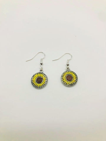 Disk Sunflower Earrings