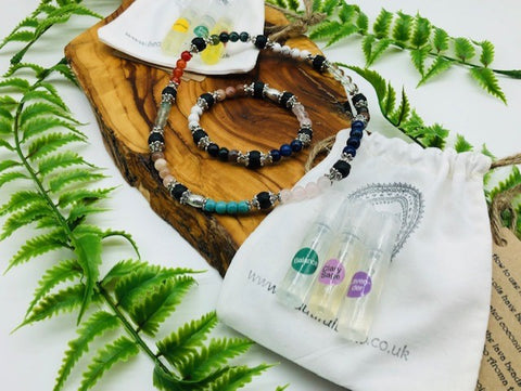 Physical, Emotional & Spiritual Wellness Aroma Crystal Bracelet & Necklace Set