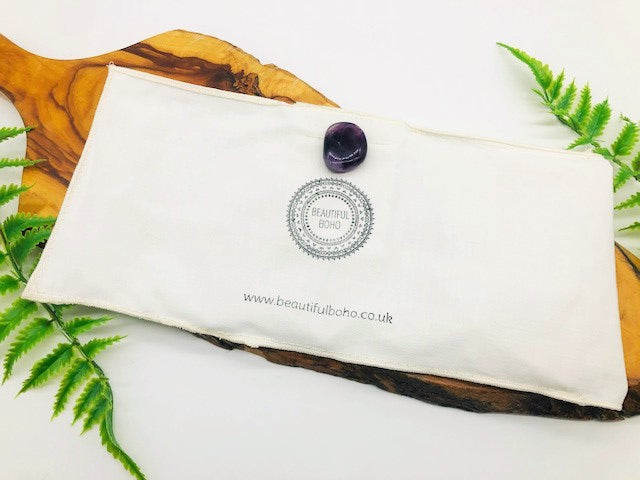 Lavender Eye Pillow Case With Amethyst Crystal
