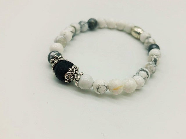 Howlite Calming & Balancing small Bead Simply crystal Aroma Healing Bracelet