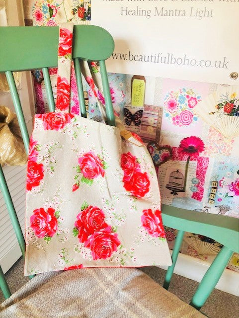 Hand Made Rose reclaimed material Tote Bag
