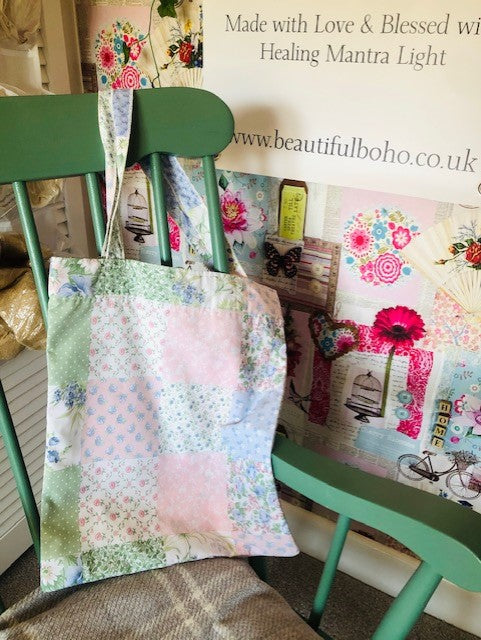 Hand Made Patchwork  reclaimed material Tote Bag