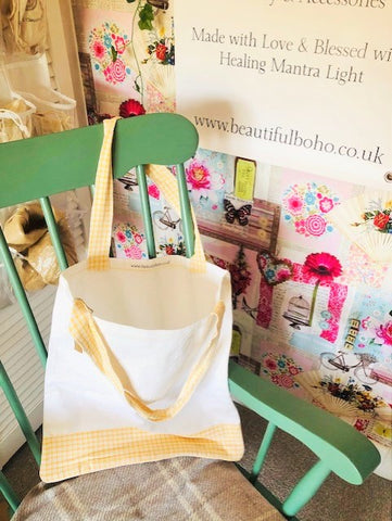 Hand Made Yellow gingham reclaimed material Tote Bag