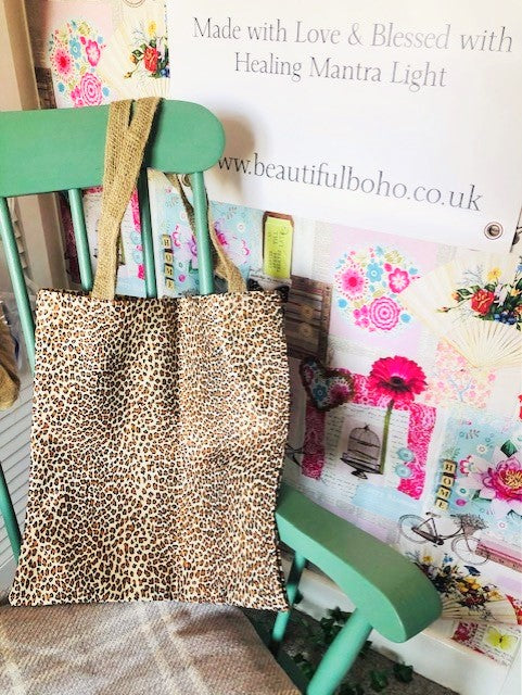 Hand Made leopard reclaimed material Tote Bag