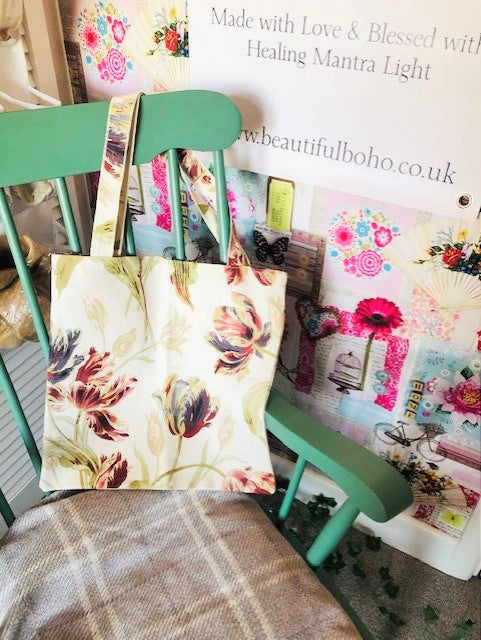 Hand Made Tulip reclaimed material Tote Bag