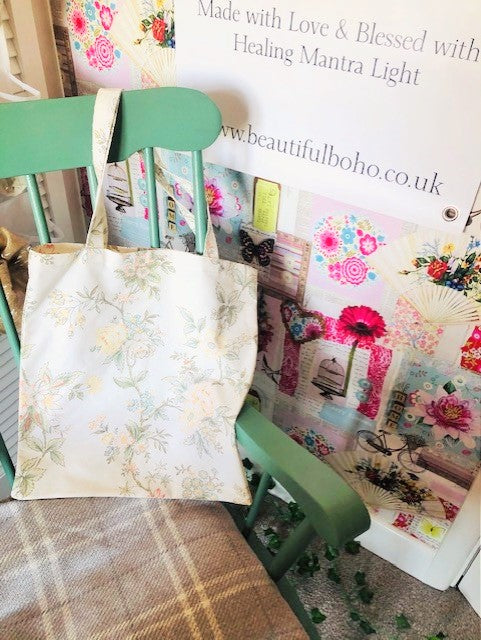 Hand Made vintage flower reclaimed material Tote Bag