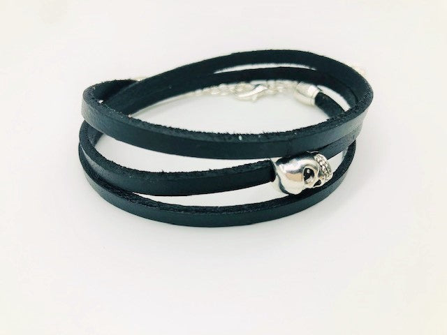 Gentleman's Real Leather Skull Wrap Bracelet or necklace