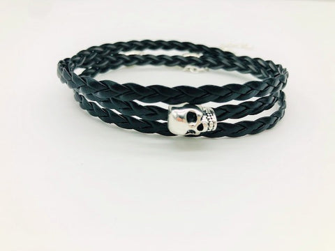 Gentleman's Braided Faux Leather Skull Wrap Bracelet or necklace