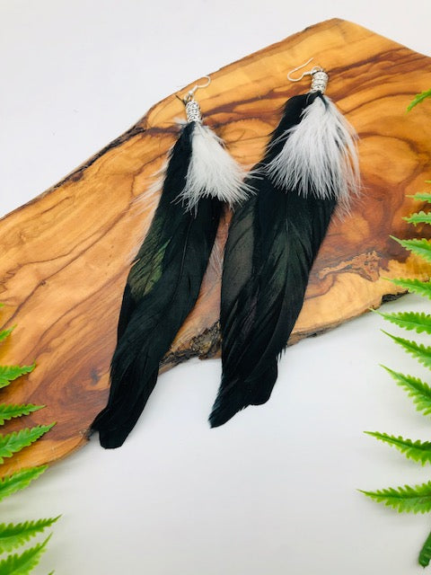 Black & White Feather Earrings