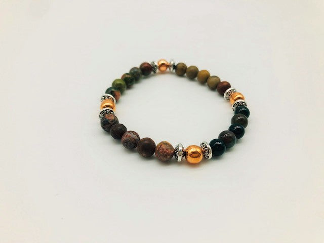 Physical & Emotional Wellness Bracelet With Copper, Unakite, Leopard Jasper, Smoky Quartz and Picasso Jasper