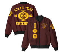 Load image into Gallery viewer, Iota Phi Theta Letter Bomber Jacket