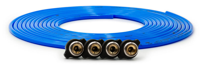 Tire Inflator Hose Replacement 240 Inch W/4 Quick Release Chucks Blue UP Down Air ( 340-4100-BLU )