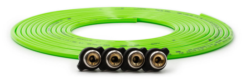 Tire Inflator Hose Replacement 240 Inch W/4 Quick Release Chucks Green UP Down Air ( 340-4100-GRN )