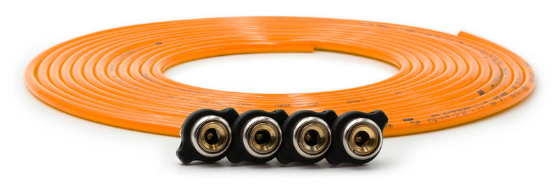 Tire Inflator Hose Replacement 240 Inch W/4 Quick Release Chucks Orange UP Down Air ( 340-4100-ORG )
