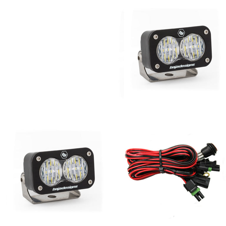 LED Work Light Clear Lens Wide Cornering Pattern Pair S2 Sport Baja Designs ( 547805-FGXX )