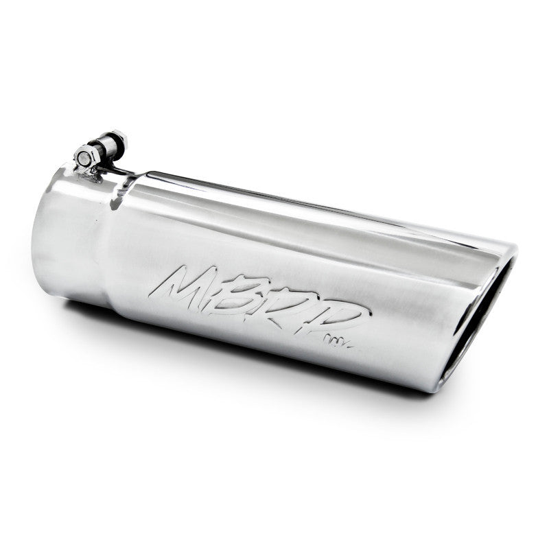 Exhaust Tip 4 Inch O.D. Angled Rolled End 3 1/2 Inch Inlet 12 Inch Length T304 Stainless Steel MBRP ( T5112 )