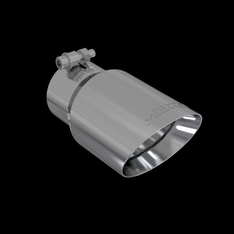 Exhaust Tip 4 Inch O.D. Dual Wall Angled Rolled End Fits Aluminized Steel 3 Inch Systems MBRP ( T5122 )
