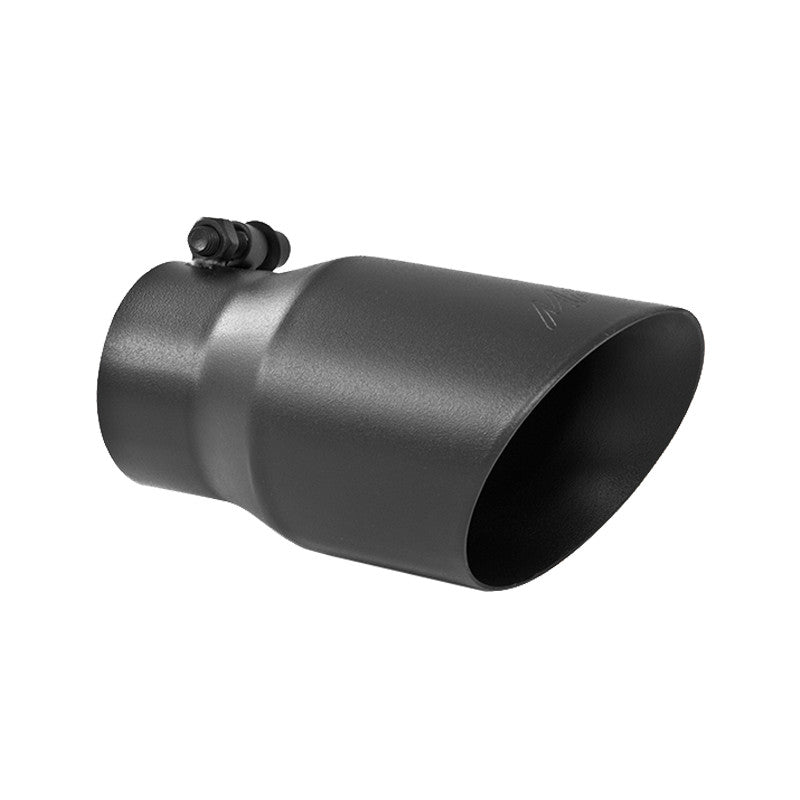 Exhaust Tip 4 Inch O.D. Dual Wall Angled Rolled End Black Fits Aluminized Steel 3 Inch Systems MBRP ( T5122BLK )