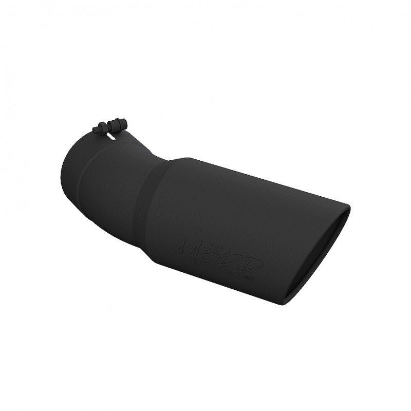 Exhaust Tip 6 Inch O.D. Angled Rolled End 5 Inch Inlet 15 1/2 Inch Length 30 Degree Bend Black MBRP ( T5154BLK )