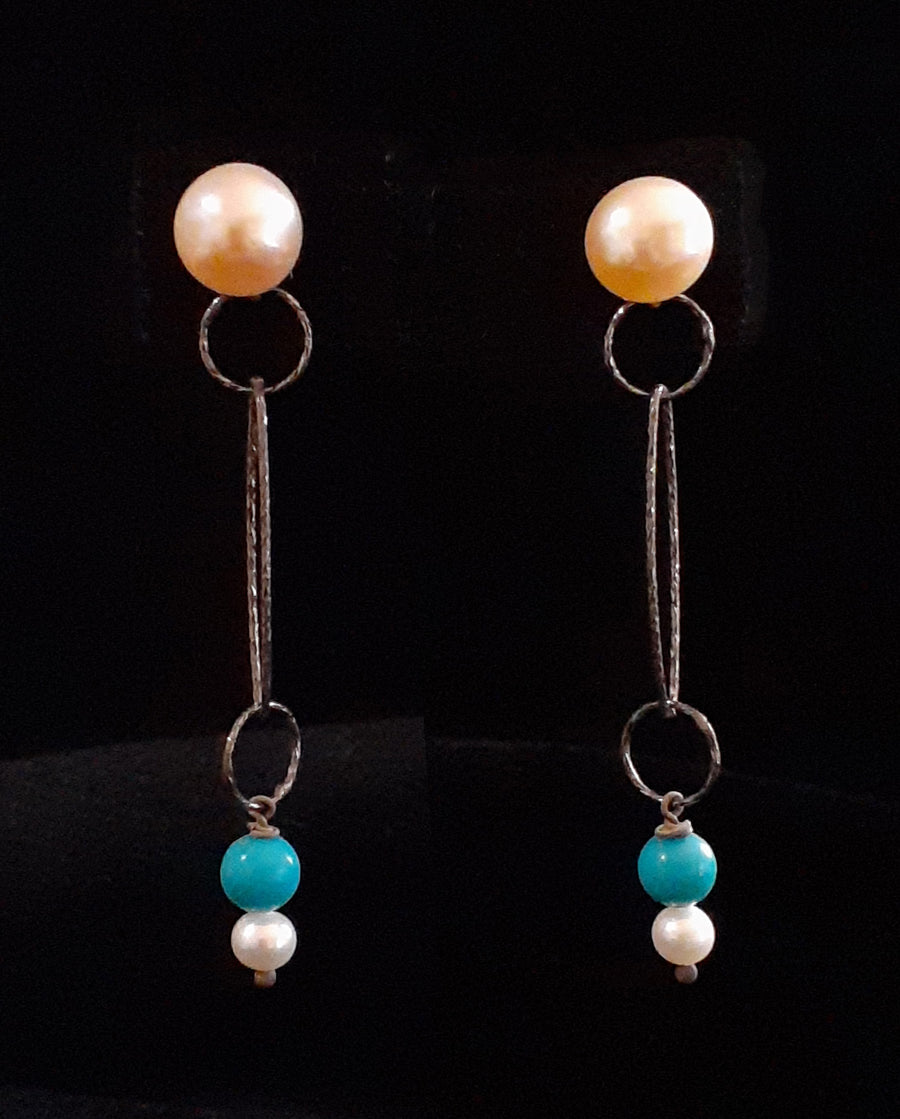 Turquoise + Pearl Dangle Silver Post Earrings