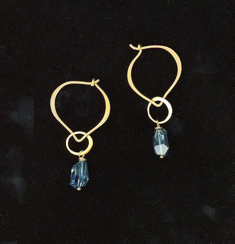 Blue Topaz Freeform Drop Earrings