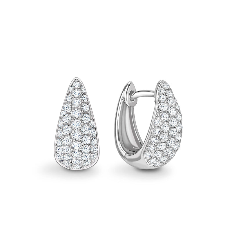 Diamond Hoop Earrings. Contemporary Diamond Earrings. White Gold. Shop diamonds online.Kitney London