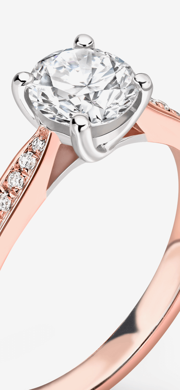Two-tone rose gold and white gold diamond engagement ring. Ethically sourced diamonds. Kitney London