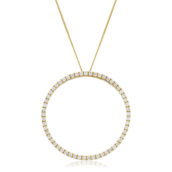 Round cut diamonds set in 18k yellow gold circle of life. Kitney London Jewellery. Shop Online