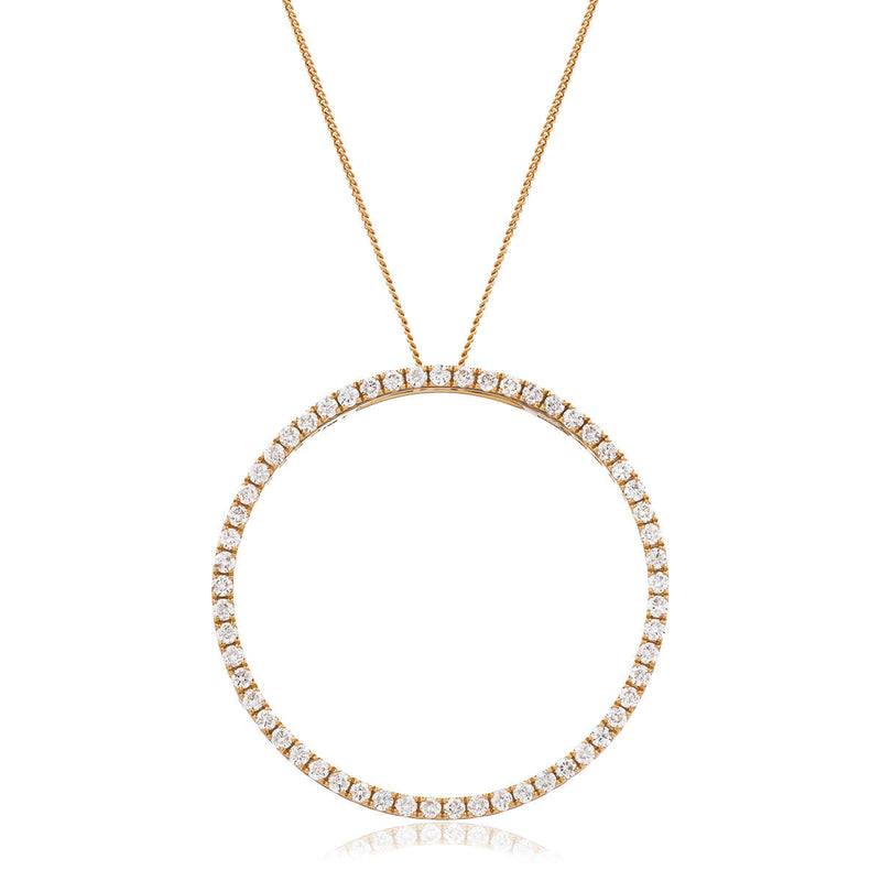 Round cut diamonds set in 18k rose gold circle of life. Kitney London Jewellery. Shop Online