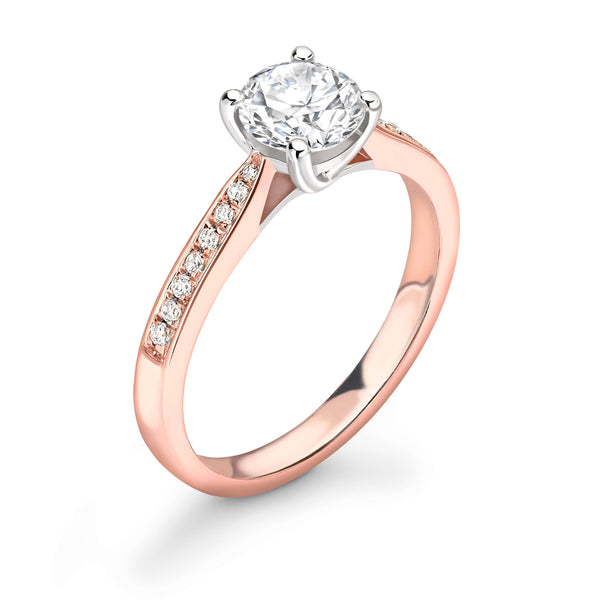Two-tone rose and white gold diamond engagement ring. White gold. Rose Gold. Kitney London