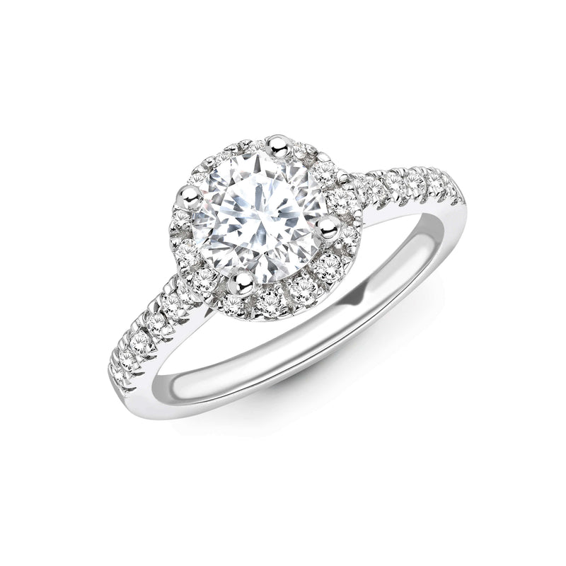 Round Cut diamond ring set in 18k white gold. Diamond engagement rings. Kitney London Jewellery