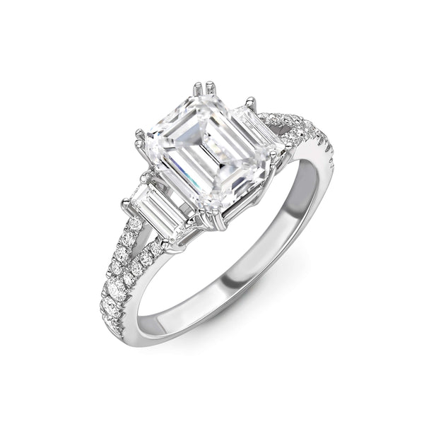 marquise cut diamond trilogy ring set in 18 karat white gold. Trilogy engagement ring. Kitney London