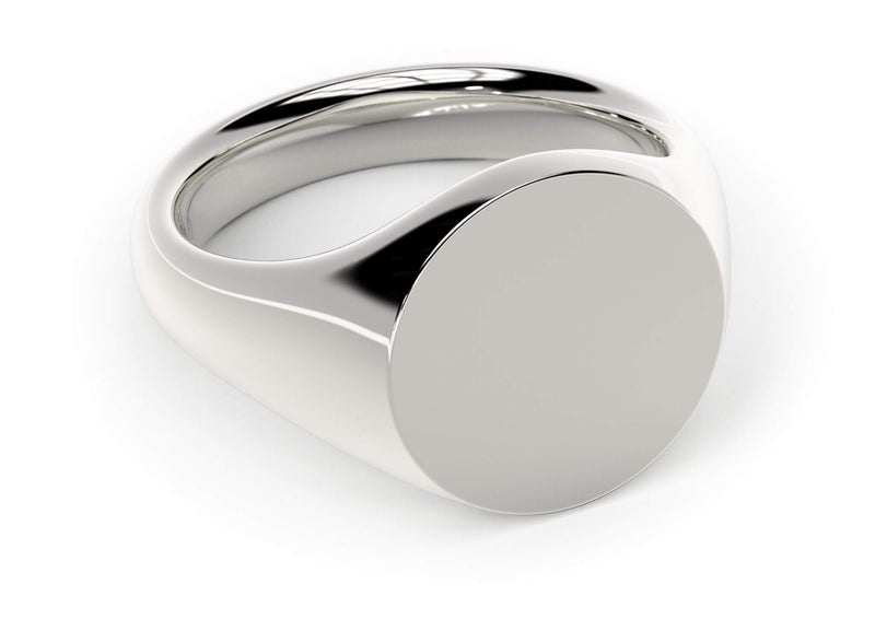 Design your personalised signet ring. Hand-seal engraved family crest. White gold. Round Signet
