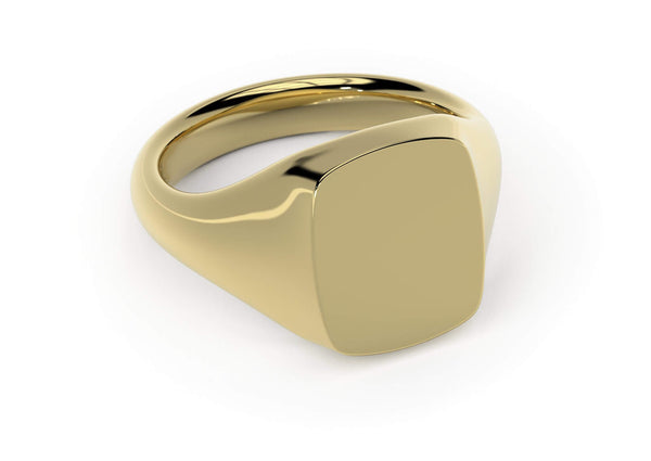 Personalised Signet Ring. Made in Britain. World-class craftsmanship. 18k gold. Cushion Cut