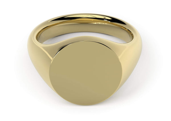 Design your personalised signet ring. Hand-seal engraved family crest. Yellow gold. Round Signet