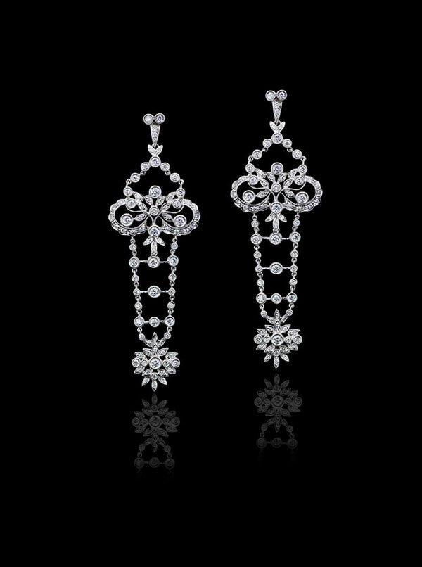 Bespoke Diamond Chadelier Earrings | White Gold | Kitney London