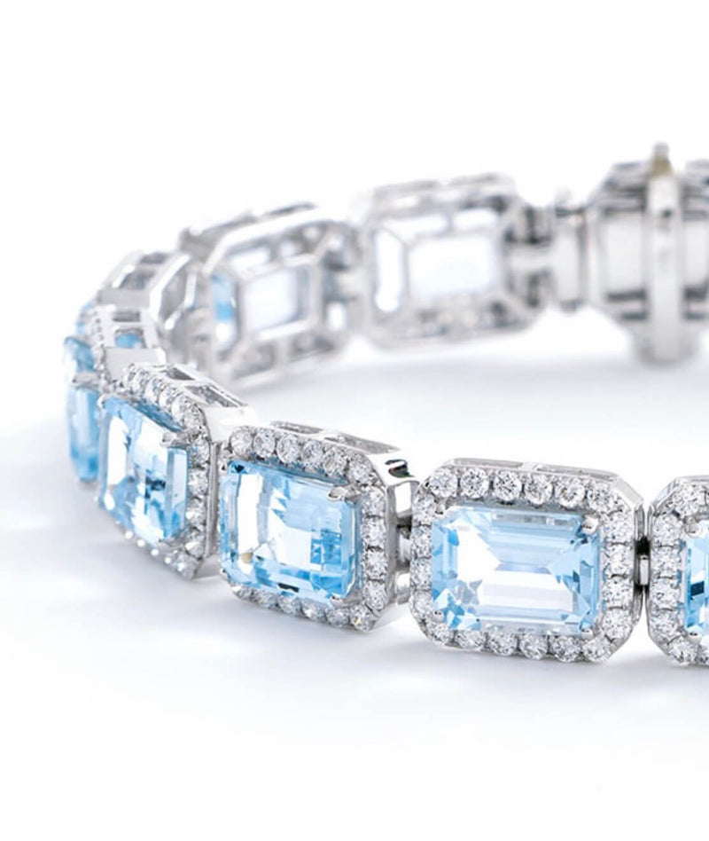 Diamond and Aquamarine Bracelet | Kitney London Limited Edition