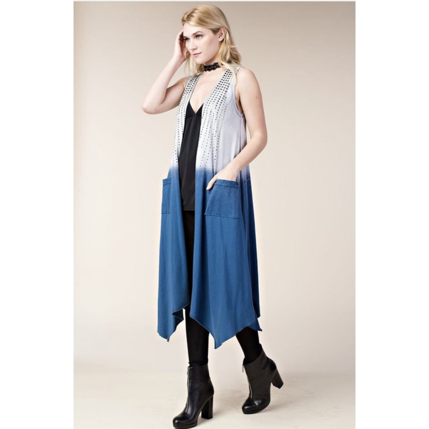Long Denim Denim Style Vest