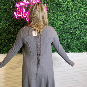 Long Laced Up Back Cardigan