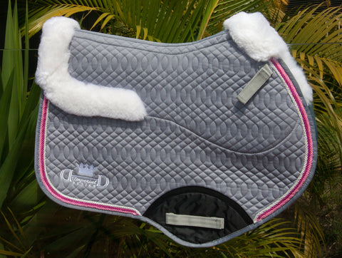 Grey Deluxe Jumping Pad with Sheepskin