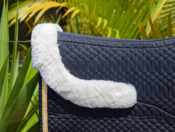 Navy Elite Dressage Pad with Sheepskin
