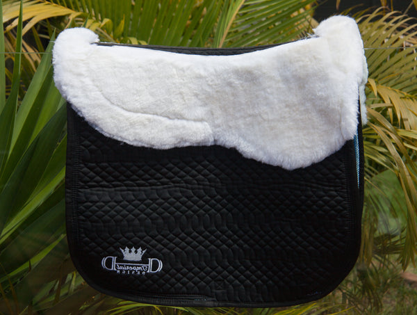Black Elite Dressage Pad with Sheepskin
