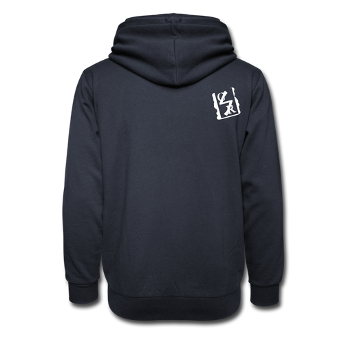 Shawl Collar Spray Logo Hoodie (White Tag) - navy